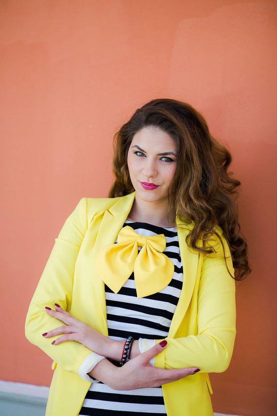 Yellow Matte Women's Bow Tie Genuine New by #BowsByVaniaSzasz #Etsy