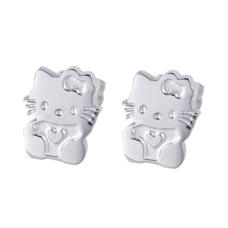 Meisjes leuke oorbellen mooie hello kitty kat oor sieraden kwaliteit vergulde rvs stud earring gift voor vriendin