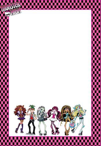 Marcos, Invitaciones, Tarjetas o Etiquetas de Monster High para Imprimir Gratis.
