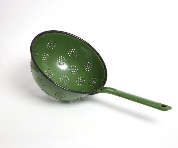 Colador de esmalte verde vintage, chic shabby colador verde, decoración Retro cocina, colador de colección
