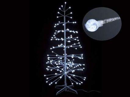 Abete albero natalizio bianco con 152 luci led bianche tonde  Misure: Ø 70 cm x 150 H Cavo: 5,1 mt - 152 luci led bianche Materiale: Altri Metalli