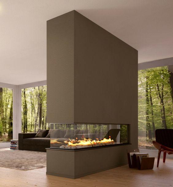 modernes-wohnzimmer-mit-luxus-trennwand-kamin- sehr schick - 42 kreative Raumteiler Ideen für Ihr Zuhause
