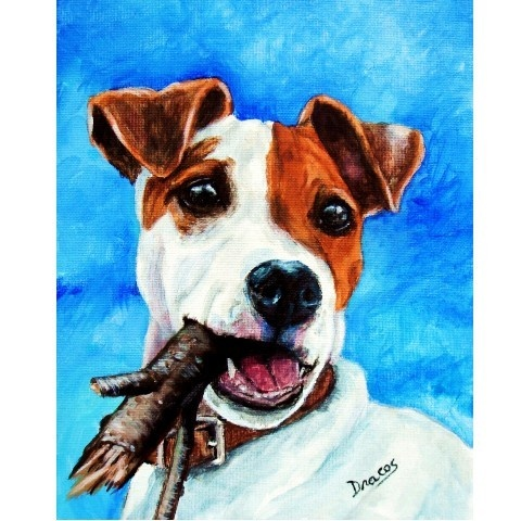 "Jack Russell Dog Art 8x10 Print ""Jack with Stick"" by DottieDracos @Etsy"