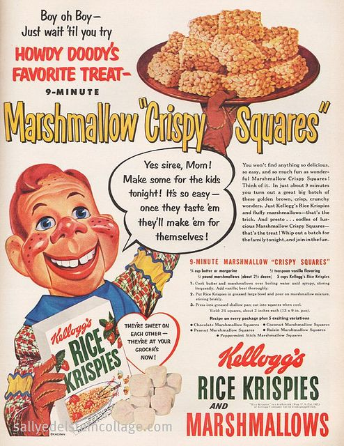 A wonderfully fun 1950s ad for Rice Krispies cereal featuring Howdy Doody. Creepy then and creepy today...