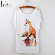 Harajuku 2017 Renard Animal Print T-Shirt Femmes Tops T-shirt graphique T-shirt Femme T Shirt Femme Blanc T-shirt Lâche Top t-shirts(China (Mainland))