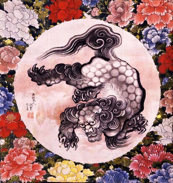 唐獅子図(1844年) この鮮やかで力強い浮世絵。真ん中の獅子は父・葛飾北斎の作、周りの花を描いたのはその娘・葛飾応為。そう、唯一無二の天才2人による親子合作です。完成したのは、北斎が死ぬ5年前、83歳のとき。