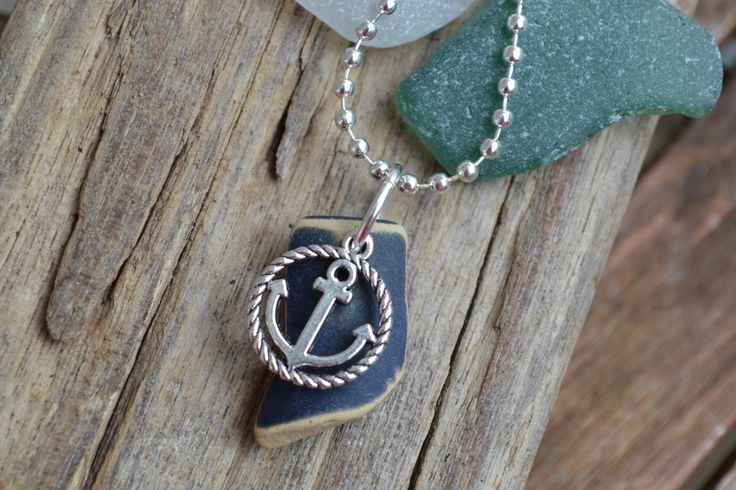 Navy Irish Sea Pottery Necklace with Anchor Charm by MajackalCreations on Etsy