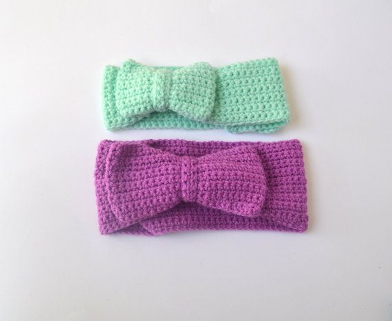 Mummy and Daughter SET of 2 Crochet Bow Headbands by LittleFoxCrochet $50 + postage