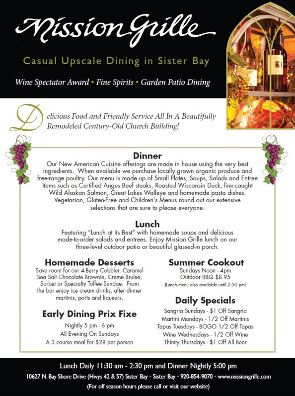 Door County Dining at Mission Grille restaurant in Sister Bay Door County Wisconsin  sc 1 st  Pinterest & 33 best Door County Restaurants images on Pinterest | Diners In ...