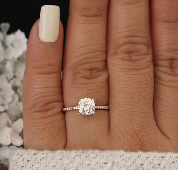 Cushion 6.5mm Rose Gold Moissanite Engagement Ring Diamond | Etsy