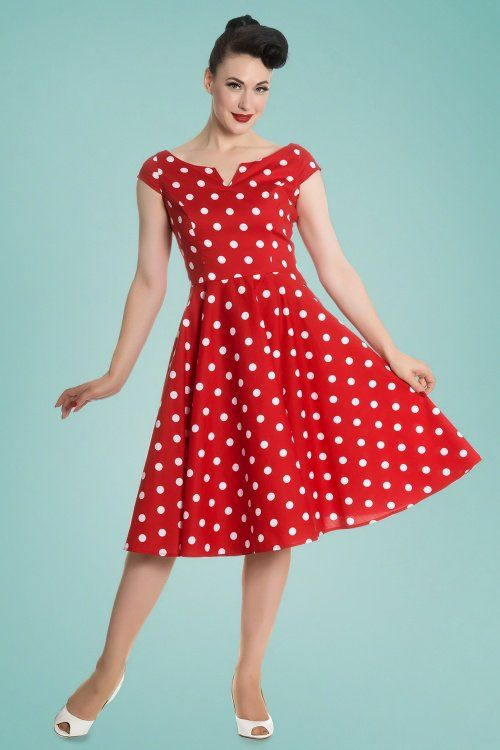 b602c6fce7 50s Nicky Polkadot Swing Dress in Red and White Swing Ruha, Molde,  Kézimunka,