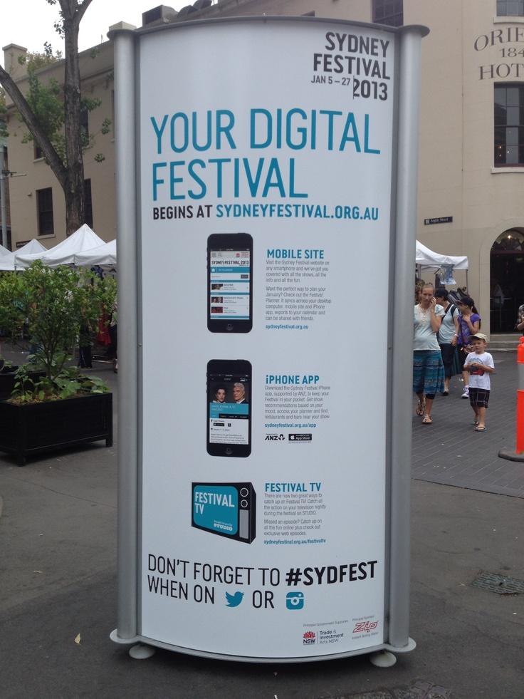 Stand-up signage, promotion of mobile apps, Sydney Festival 2013