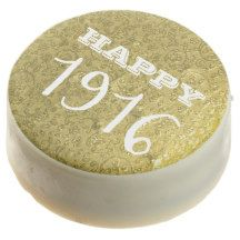 Elegant Chic Gold Typography Happy 1916 Chocolate Dipped Oreo