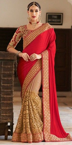 Wonderful Red And Beige Georgette Designer Saree With Blouse.