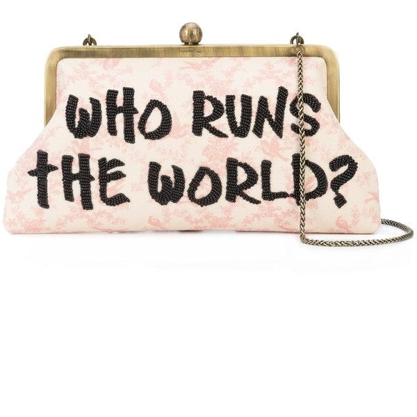 Sarah's Bag Who Runs The World Clutch found on Polyvore featuring bags, handbags, clutches, bags /, kirna zabete, shoulder bags, white shoulder bag, canvas purse, coin pouch and coin purse
