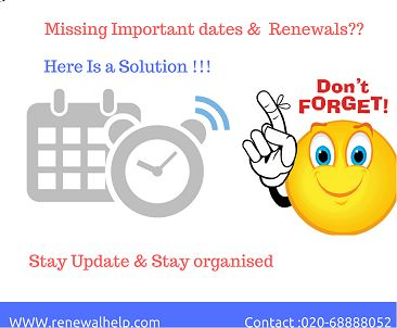 passport renewal services|Software renewal services|Tax payment reminder services|Licens renewal -car|medical licence renewal reminder|insurance policy reminder services