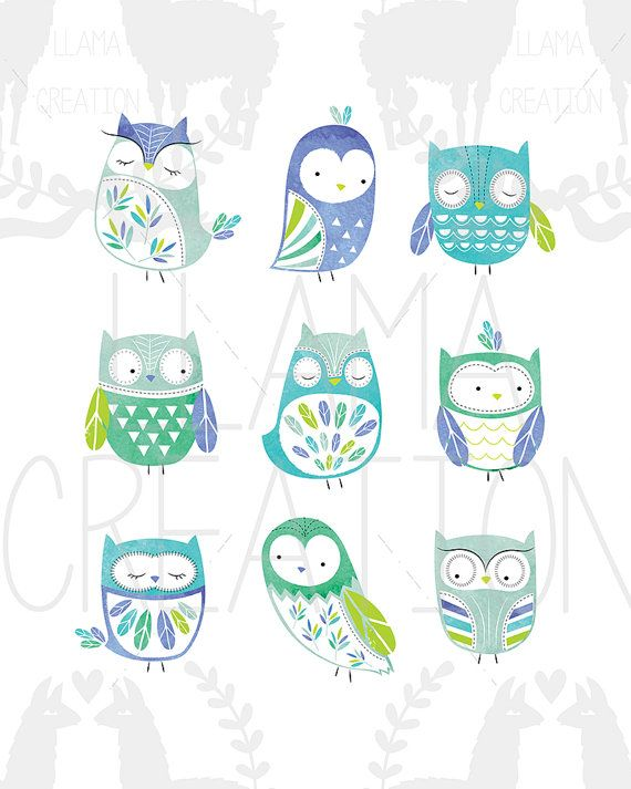 Owl nursery art Instant Download 8x10 Owl wall by LlamaCreation