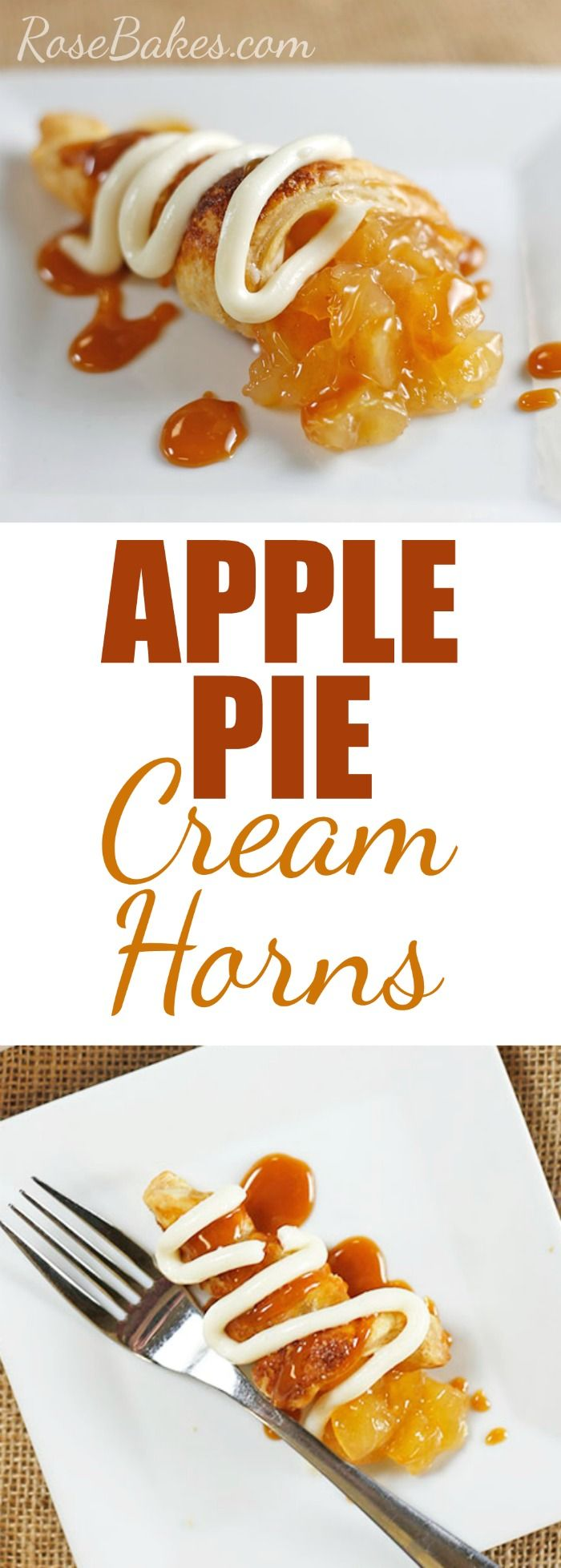 #ad Caramel Apple Pie Cream Horns made with Pepperidge Farms Puff Pastry Sheets. Filled with cream cheese custard & apple pie filling - topped with caramel! #InspiredByPuff