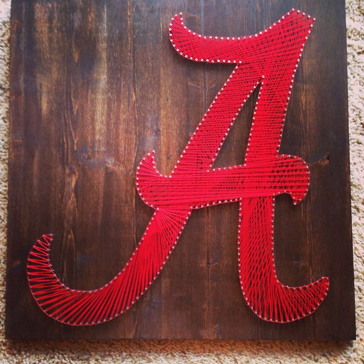 String Art Sports Logos Alabama Crimson Tide FREE SHIPPING by ThingsStringed on Etsy