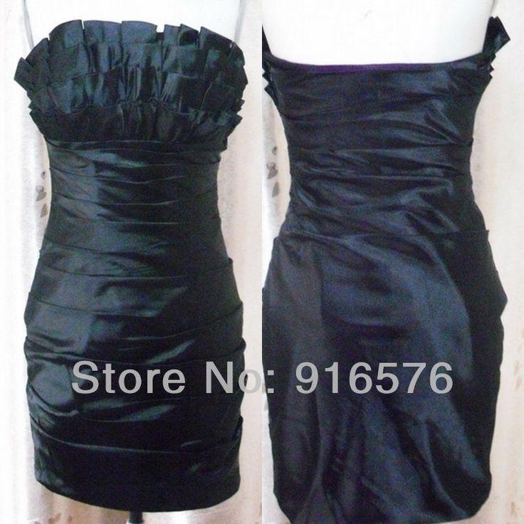 Короткие платья выпускного вечера 2013 ну вечеринку платье с коротким открытой спиной мини без бретелек декольте Ruched молния черные платья