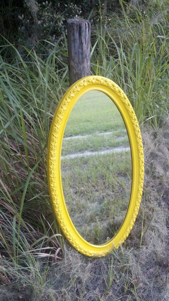 Vintage Upcycled Recycled Yellow Oval Ornate French Country Shabby Chic Mirror Mid Century Up Cycled