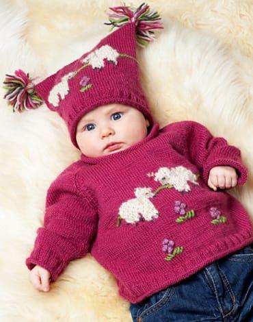 Modellerna är stickade i M&K Eco Babyull / M&K Babyull Color (100% Ekologisk ull) Storlek: 3 (6) 9 (12) 18 mån (2) 4 år Centilong: 60 (68) 74 (80) 86 (92) 104 cm Garnåtgång: Tröja, färg: 5 (6) 7 (8) 8 (9) 10 nystan. fg 1 (fg 179 mörk rosa) 1 (1) 1 (1) 1 …