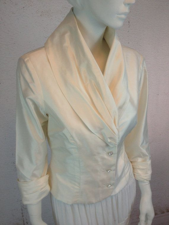 Stunning Thai Silk Evening Blouse Off White Silk Rhinestone Buttons Ladies US 10 Medium Gorgeous Collar Cuffed Ruched Sleeves Oh-So Retro