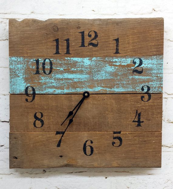 Aqua Reclaimed Barn Wood Clock Recycled Like Pallet Clock Barnwood Rustic Primitive Shabby Cottage Chic Handmade Made in USA Christmas Gift on Etsy, $38.00