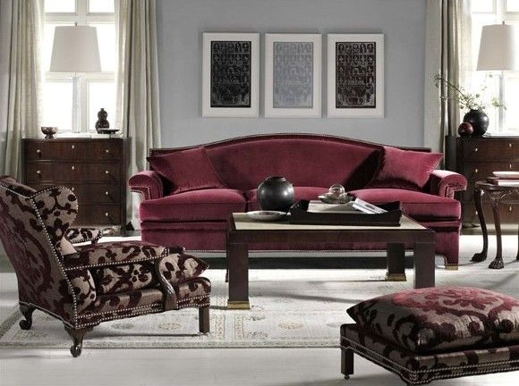 Thomas O'Brien for Hickory Chair. Wine sofa and chairs at Safavieh Home Furnishings stores