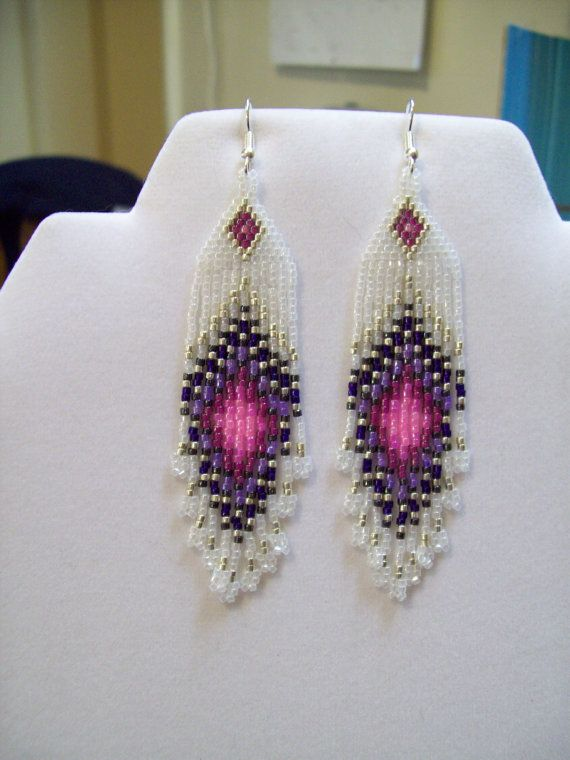 Ready to Ship Native American Design Beaded Pink and Purple Peacock Eye Earrings