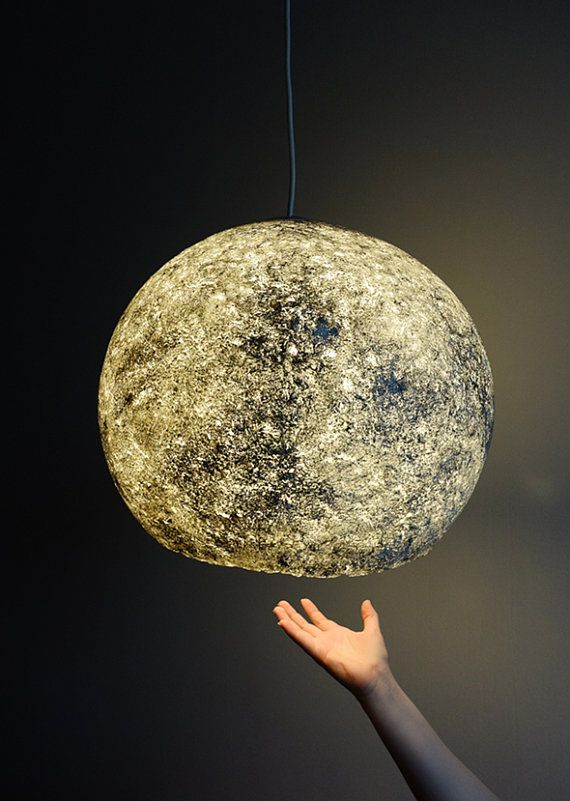 Lampe Papier Mache #11: Moon Lamp, Eco Lampe, Papier Papiermache Lampe, Hängende Lampe, Papier  Zellstoff Lampe