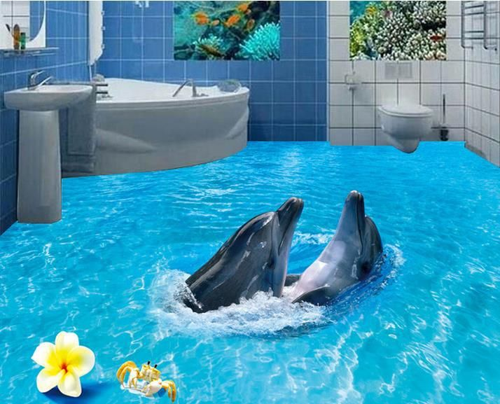 145 best images about 3d floor designs on pinterest for Dolphin mural wallpaper
