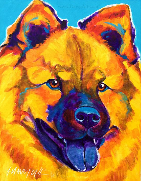 SALE Original Colorful Chow Chow Dog Art Painting by dawgpainter