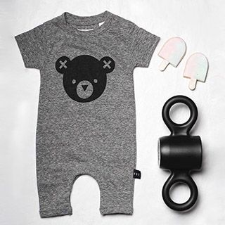 Huxbaby's Bear Short Sleeve Romper made from premium organic cotton and available from www.babydino.com.au