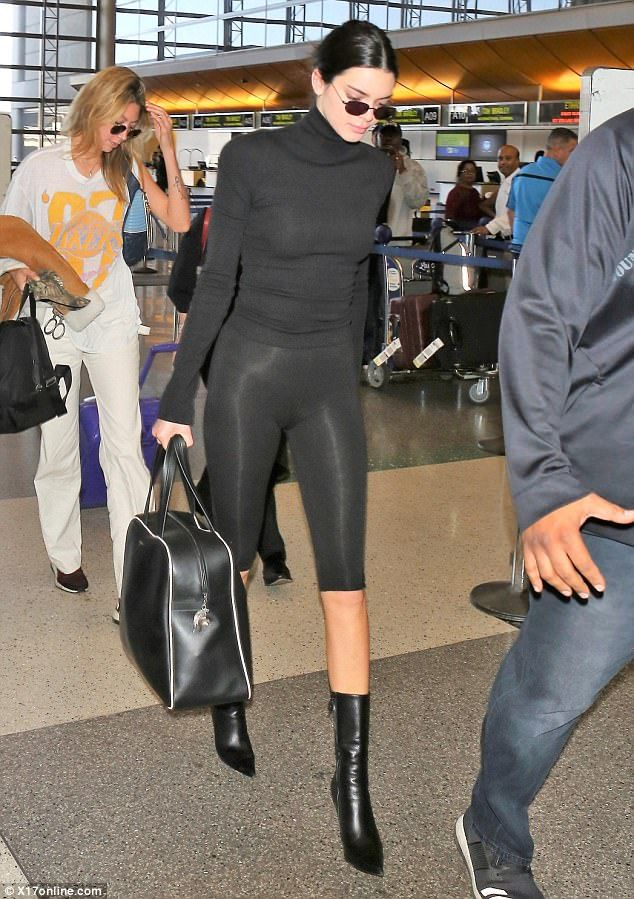 Kendall Jenner dons tight turtleneck and cropped leggings