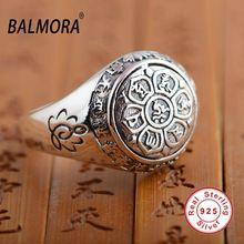 BALMORA Vintage Real de 100% 925 Sterling Silver Jóias Budista Seis Palavras' SY20992 Mantra Anéis para Presentes Dos Amantes Dos Homens Das Mulheres alishoppbrasil