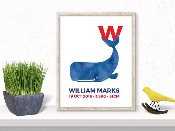 Custom Art print whale personalized birth details letter name printable art digital kids wall decor nursery print baby gift gender neutral