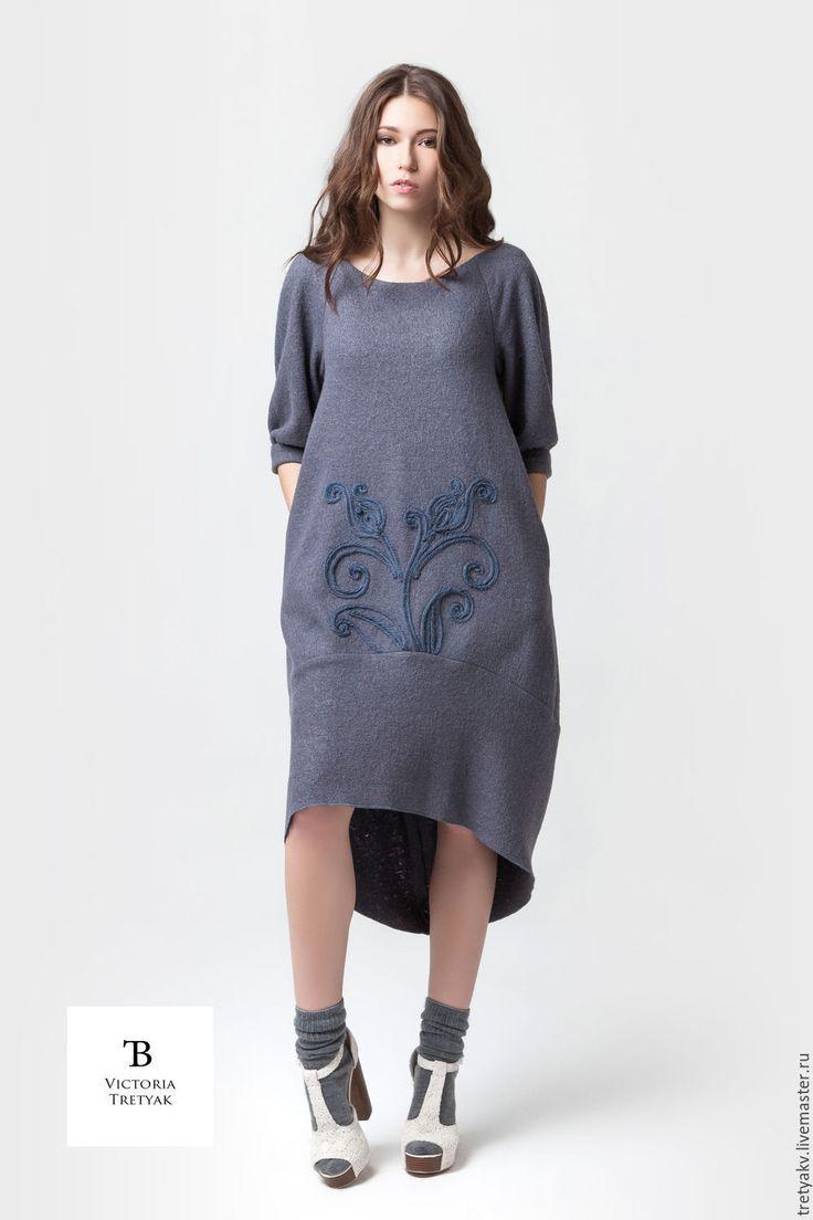 Купить Платье/шерстяное платье/ - серый, платье, платье с рукавами, платье с вышивкой, платье в пол