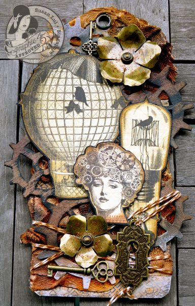 @Susan Lui made this incredible Steampunk tag using our new Large Tag Album - what amazing details and use of the Metal Staples as well! Incredible! #graphic45 #staples