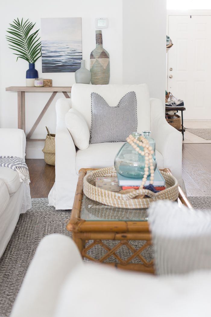 Coastal Decorating Ideas Beach House Themed Interior Slipcovers For Chairs Living Room
