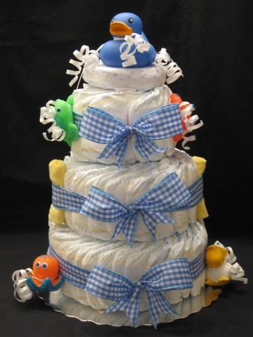 diaper cake - filled with bath supplies too