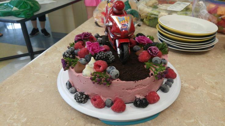 Motorcycle raw strawberry cheesecake