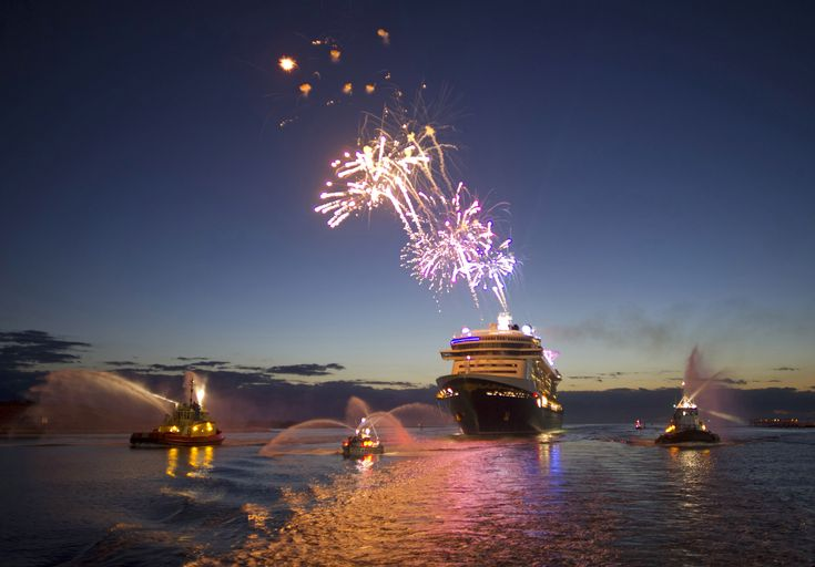 Disney Fantasy cruise ship arrives in Port Canaveral, Florida. Yes they do fireworks at sea!