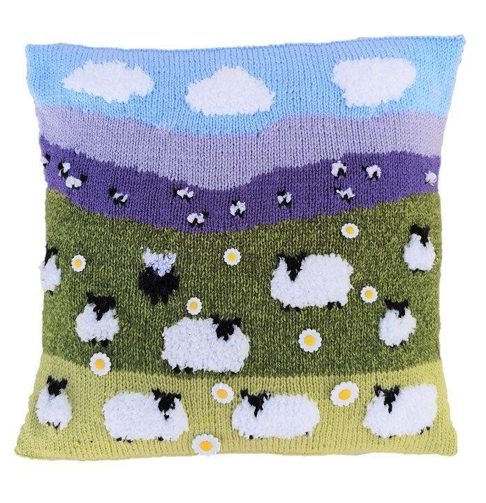 Sheep Flock Needlepoint Pillow