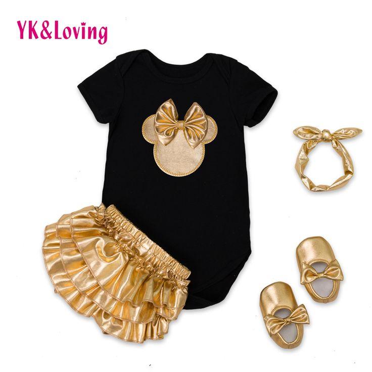 2017 Baby Meisje Kleding 4 stks Kleding Sets Zwart Katoen Rompertjes Golden Ruche Bloeiers Shorts Schoenen Hoofdband Pasgeboren Kleding