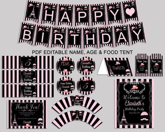 Paris Birthday Decor Paris Editable Pack Black Pink Party Etsy Paris Birthday Paris Theme Party Girl Birthday Decorations