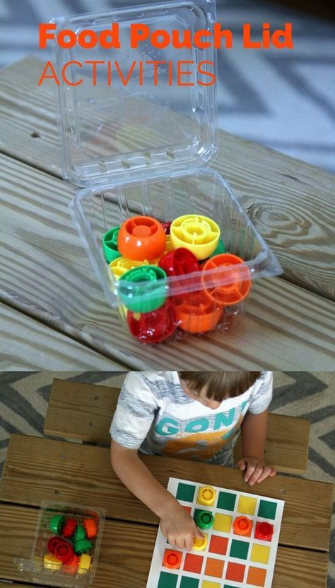 Fun kid activities using food pouch lids - Perfect for summer learning!