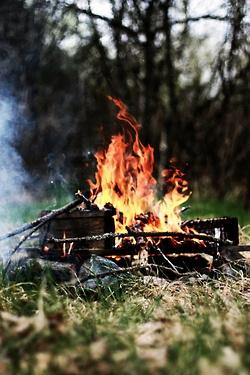 bonfire to cook s'mores