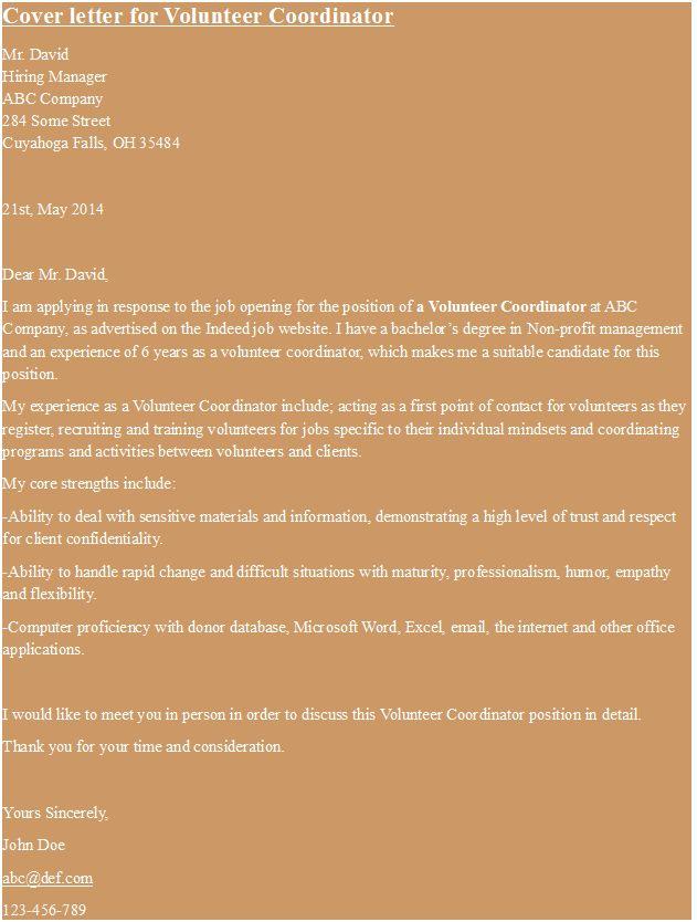 cover letter for volunteer coordinator hipcv