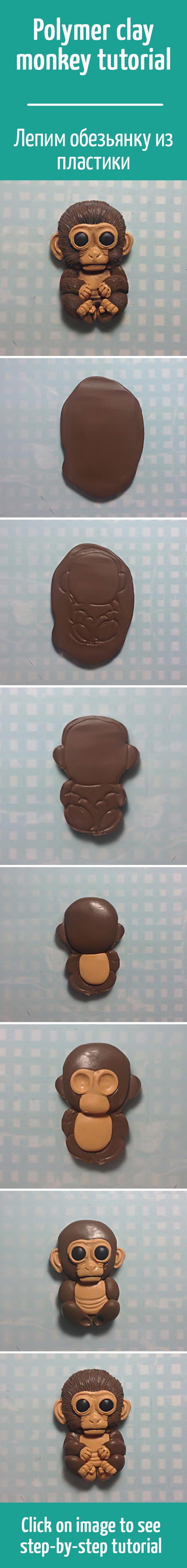 Лепим симпатичную обезьянку из полимерной глины /Polymer clay monkey tutorial